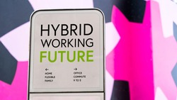 Hybrid Working future with colourful city backdrop location