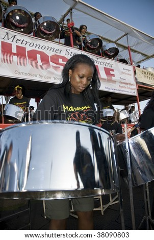 Hyde Park, London-August 29: Band member from Metronomes Steel Orchestra playing steel drum at the Notting Hill Panorama Championships, 29th August 2009 in Central London