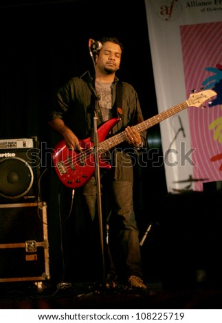 HYDERABAD,AP,INDIA- JUNE 21:Gospel rock band Performs at Alliance Francaise, Goethe Zentrum and HwM foundation World Music Day celebrations on June 21,2012 in Hyderabad,Ap,India.  - stock photo