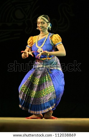 HYDERABAD,AP,INDIA-SEPTEMBER 04:Vaishnavi Sainath performs Bharatanatyam dance navarasas, presentation of nine emotions of human at ravindra bharathi on September 04,2012 in Hyderabad,Ap,India.