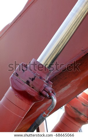 hydraulic system of a digger - stock photo