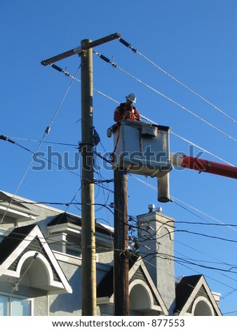 hydro worker on lift