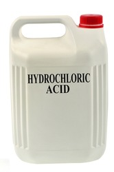 Hydrochloric acid canister close-up on white background