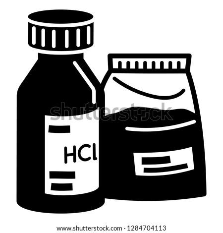 Hydrochloric acid icon. Simple illustration of hydrochloric acid icon for web design isolated on white background