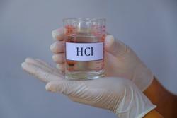 hydrochloric acid solution in glass