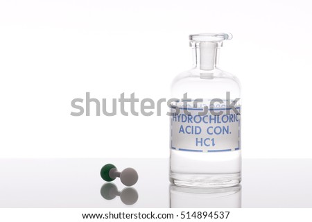 Hydrochloric acid solution with chemical structure model.