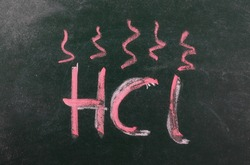 Hydrochloric acid symbol, hcl icon chalkboard, blackboard texture