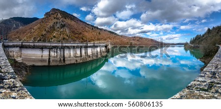 Hydroelectric dam at lake Plastira, in central Greece