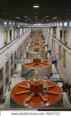 Hydroelectric Generators in a Powerhouse - Renewable Energy Sources infrastructure in one point perspective