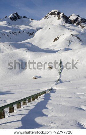hydroelectric plant on the alps in winter