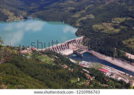 hydroelectric power plant Perucac on Drina river landscape Stock photo ©