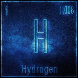 Hydrogen chemical element, Sign with atomic number and atomic weight, Periodic Table Element