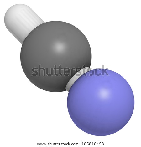 Hydrogen cyanide (HCN, Prussic acid) molecule, chemical structure. HCN is an extremely toxic and volatile liquid.