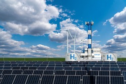 Hydrogen factory concept. Hydrogen production from renewable energy sources