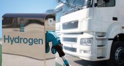 Hydrogen filling station on a background of trucks