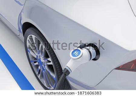 Hydrogen fuel car charging station white color visual concept design. 3d Illustration ストックフォト ©