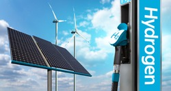 Hydrogen gas station with wind turbines and solar panels in the background. Getting green hydrogen from renewable energy sources