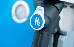 hydrogen logo on gas stations fuel dispenser. h2 combustion engine for emission free ecofriendly transport.
