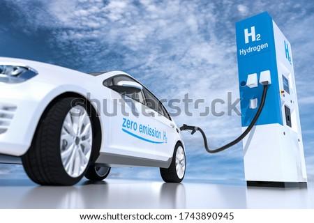 hydrogen logo on gas stations fuel dispenser. h2 combustion engine for emission free ecofriendly transport. 3d rendering ストックフォト ©