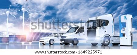 hydrogen logo on gas stations fuel dispenser. h2 combustion Truck, car automotive engine for emission free ecofriendly transport. 3d rendering