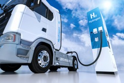 hydrogen logo on gas stations fuel dispenser. h2 combustion Truck engine for emission free ecofriendly transport.