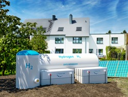 Hydrogen renewable energy production - hydrogen gas for clean electricity at private real estate home