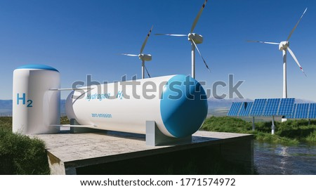 Hydrogen renewable energy production - hydrogen gas for clean electricity solar and windturbine facility. 3d rendering.