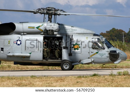 HYERES, FRANCE - JUNE 13: US Navy SH-60 Seahawk about to take off to it's carrier USS Truman during the celebration of 100 years French Navy Aviation on June 13, 2010 in Hyeres, France
