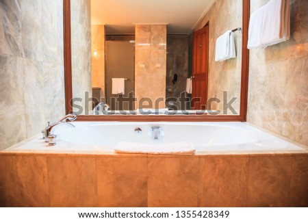 Hygienic Modern Luxury Bathroom Facility Design background. Hotel Resort Accommodation Interior Architecture, Decoration concept for toilet, washbasin, sink, lavatory, privy, and water closet