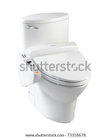 Hygienic toilet bowl with all automatic function the image isolated on white background