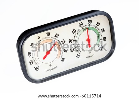 Hygrometer on white background. Measuring temperature and relative humidity.