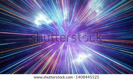 Hyper jump flight in space. Computer generated abstract background. 3D render
