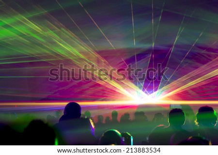 Hyper laser show. Very colorful show with a crowd silhouette and great laser rays