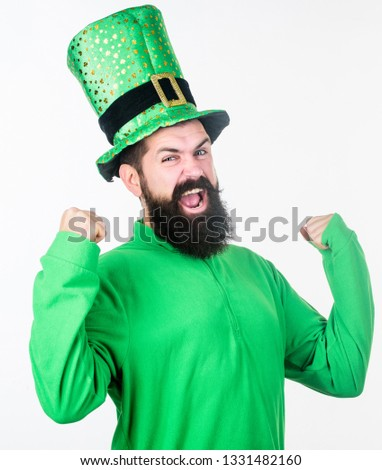 I am your paddy. Hipster in leprechaun hat and costume flexing his arms. Irish man with beard wearing green. Bearded man celebrating saint patricks day. Happy saint patricks day. #1331482160