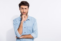 I do not trust you! Photo of arabian amazing guy looking suspicious not believe wear specs casual denim shirt isolated white color background