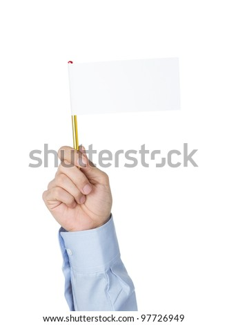I give up! Office worker waving with white paper flag