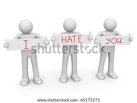 I HATE YOU banner to place your text - stock photo