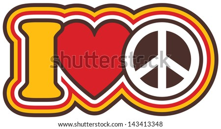 I Heart Peace icon design in Red and Yellow