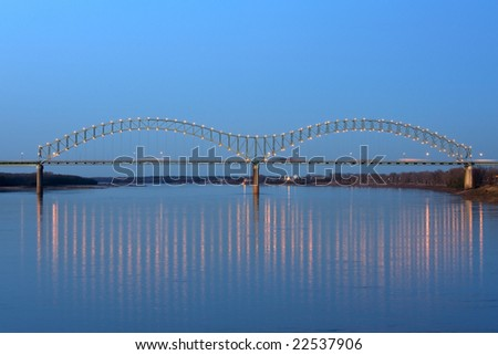 I-40 Interstate through Hernando de Soto bridge in Memphis, TN
