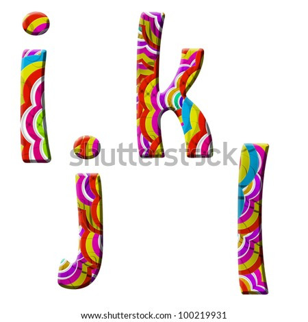 i, j, k, l, Colorful wave font isolated on white.