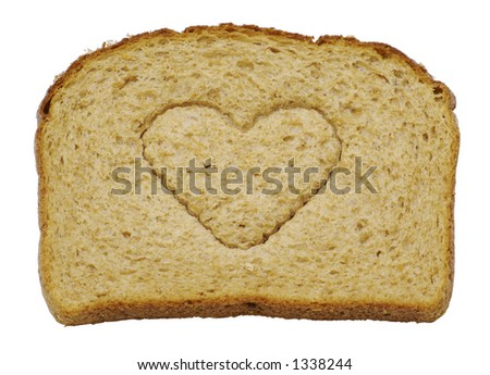 I love bread - A slice of whole wheat bread isolated on a white background