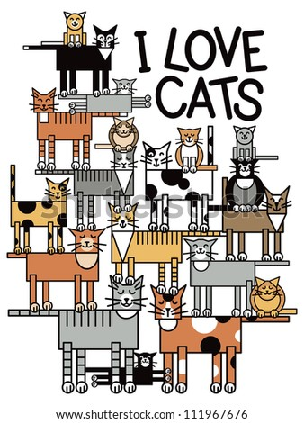 I Love Cats illustration of a group of cute cats performing a balancing act,