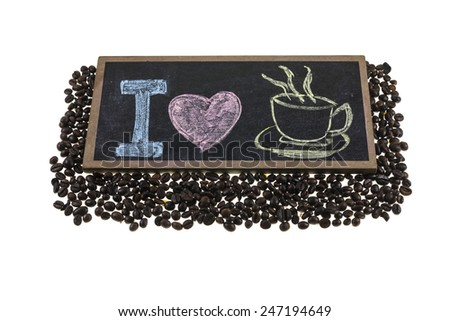 I love coffee signs, Coffee beans on white background. #247194649