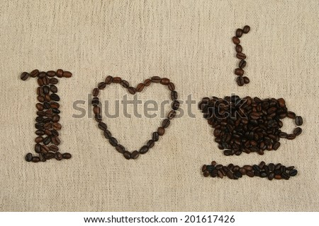 I Love Coffee written with coffee beans over a coffee bag