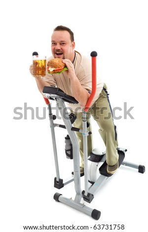 I love exercise - man with large hamburger and beer on exercise equipment
