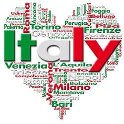 I Love Italy - Written Italy and Italian cities with heart-shaped, Italian flag colors