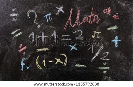 I love math concept. Math equations and symbols isolated, on blackboard background.
