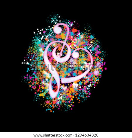 I love Music - Colorful Treble Clef / Bass Clef Heart / Splatter