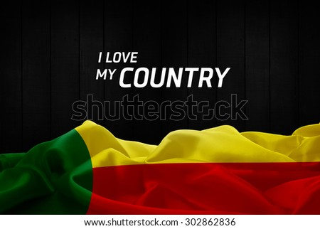 I Love My Country Benin flag and wood background