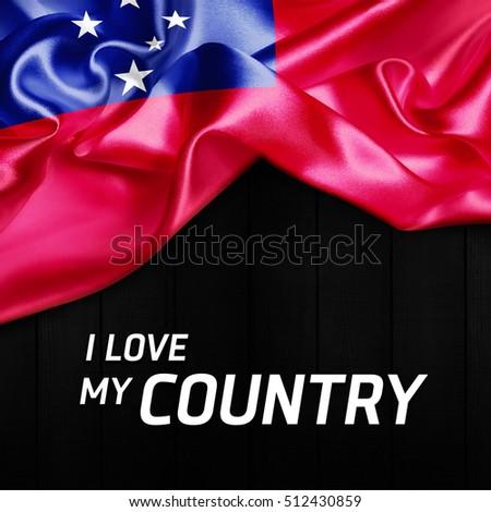 I Love my Country Samoa Abstract Flag. 3d illustration #512430859